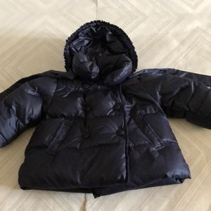 il gufo Navy Blue Baby Girls Puffer Hooded Jacket